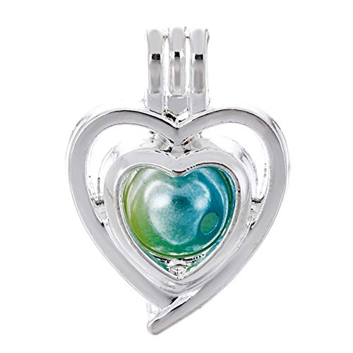 (10pcs Heart Pearl Cage Bright Silver Beads Cage Locket Pendant Jewelry Making-for Oyster Pearls, Essential Oil Diffuser, Fun Gifts (Heart))