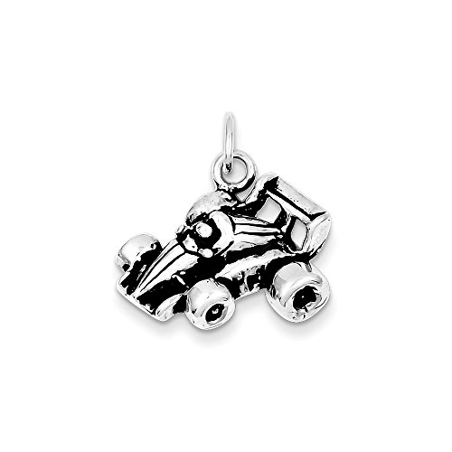 .925 Sterling Silver Antiqued Go Kart Racer Charm Pendant