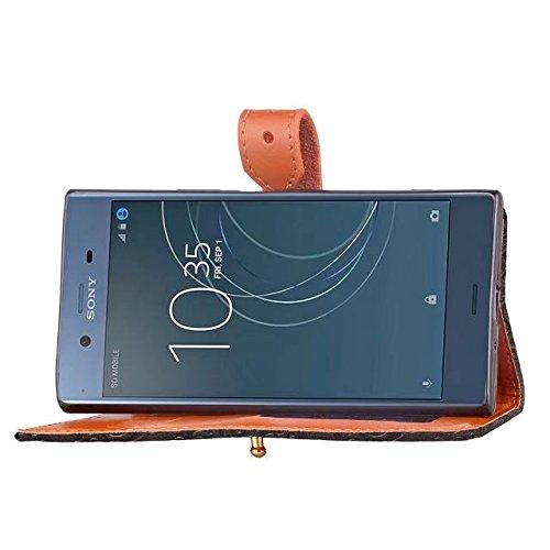 YHUISEN Estuche Sony XZ1, Cierre magnético Mural estilo europeo en relieve Carpeta de cuero con tapa y ranura para tarjeta para Sony Xperia XZ1 ( Color : Khaki ) Black