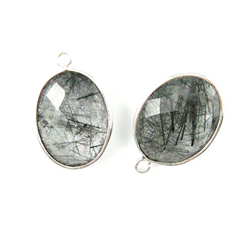 Gemstone Pendant - Sterling Silver - 14x18mm Faceted Oval Charm - Black Rutilated Quartz (Sold Per 2 Pieces)