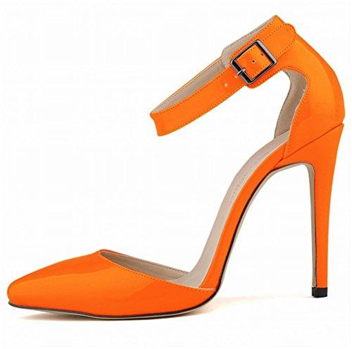 Pu Bout Pointu Soirée Cuir Orange Bride Escarpins Cheville Mode Sexy Mariage 11 Aiguille Cm De Boucle Vernis Sandale Femme Talon Wealsex Chaussure 8FqYC