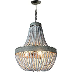 "Newrays Antique Rustic Wood Beaded Chandelier Kitchen Pendant Light Fixtures D21.6"" 27""H"