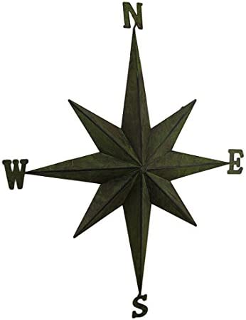 Zeckos Weathered Finish Compass Rose Decorative Metal Wall Hanging