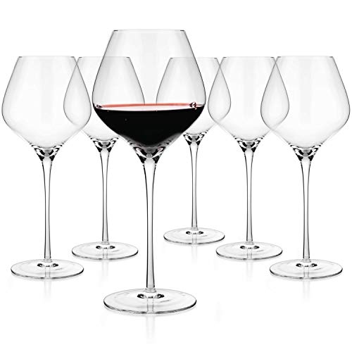 Luxbe – Crystal Wine Large Glasses 24-ounce, Set of 6 – Tall Red or White Wine Glasses – Lead-Free – Pinot Noir – Burgundy – Bordeaux – 720ml