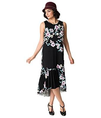 1920s Black Floral Sleeveless Knit Flapper Day Dress