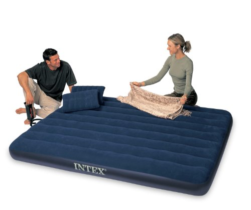 Intex Classic Downy Queen Airbed with 2 Pillows and Double Quick Hand Pump, Outdoor Stuffs