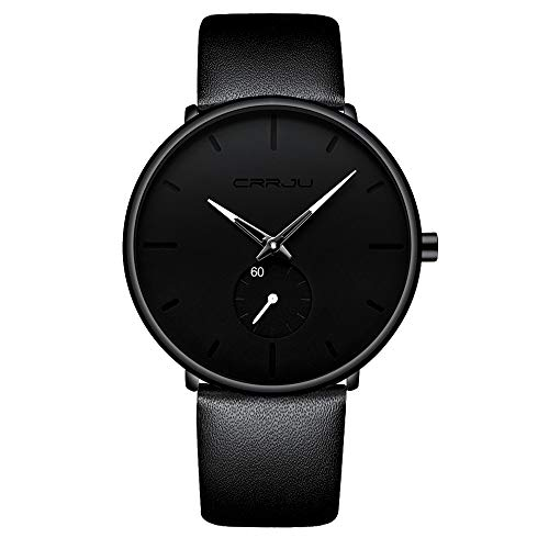 Mens Watches Ultra-Thin Minimalist Waterproof-Fashion Wrist Watch for Men Unisex Dress with Leather Band