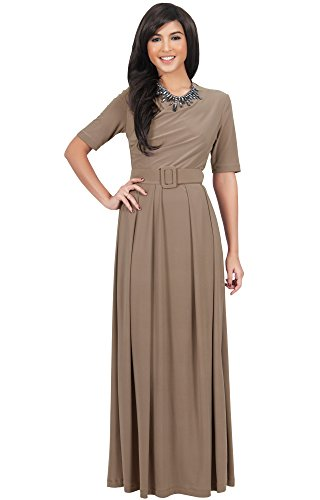 KOH KOH Womens Half Sleeve Elegant Evening Long Maxi Dress with Belt