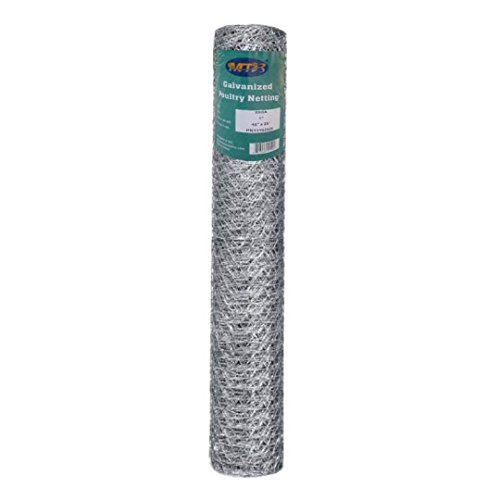 MTB 20GA Galvanized Hexagonal Poultry Netting Chicken Wire 48 inches x 25 feet x 1 inch Mesh (Hardware Cloth 1 2)