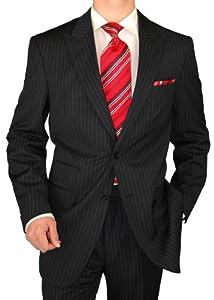 B003EIFN84 Gino Valentino 2 Button Men's Suit Peak Lapel Ticket Pocket Black Chalk Stripe (46 Long)