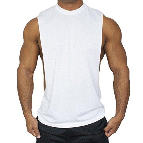 Fitness Gym l Solide Cotone Hippolo Uomo Tank Top Shirt Bianco Stringer Sport Vest Herren Nero addqw0xT