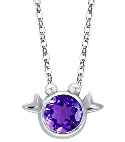 Teen Ruby Red Goddess Costumes (Epinki Women 925 Sterling Silver Necklace Cubic Zirconia 12 Constellation Zodiac Cancer Silver Purple)