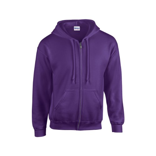 Gildan Heavy Blend Unisex Adult Full Zip Hooded Sweatshirt Top (XL) (Purple)