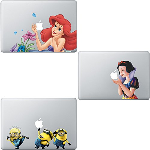 3 Pack Little Mermaid Ariel Disney Princess Snow White Despicable Me Minions Sticker Decal Macbook Air/Pro/Retina 13