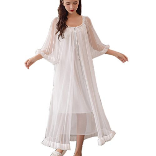 Womens Sexy Vintage Loungedress Nightgown 2 pcs Victorian Sleepwear Nightshirt Girls Pajamas (Light Blue)