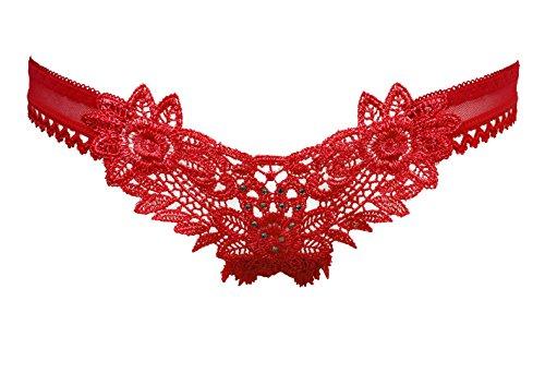 Culotte Femme Mme Sous-vêtements sexy String Transparent Femme Low-Rise Radioscopie Gravure Broderie T , appuyez sur le rose
