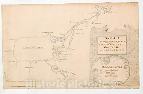 Historic Pictoric Map, 1759 SKETCH OF THE RIVER S.T LAWRENCE From LAKE ONTARIO to MONTREAL by AN ONONDAGA INDIAN, Vintage Wall Art : 66in x 44in (Map Of Lake Ontario And St Lawrence River)
