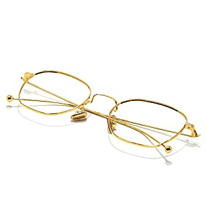 Slocyclub Oversized Metal Thin Frame Eyeglasses Retro Fashion Non-prescription Lens
