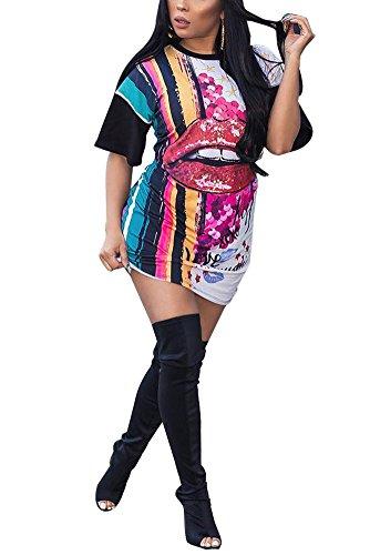 Remxi Women Sexy Half Sleeve Lip Printed Club Mini T-Shirt Dress Clubwear Black M