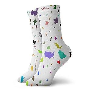BJAMAJ – Calcetines Unisex con diseño de mapamundi, poliéster Interesante, Calcetines de algodón para Adultos