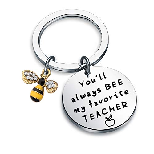 HOLLP Teacher Appreciation Gift Teacher Keyring Gift You Will Always Bee My Favorite Teacher Keychain Bee Jewelry Teacher Keepsake End of Year Gift (Keychain)