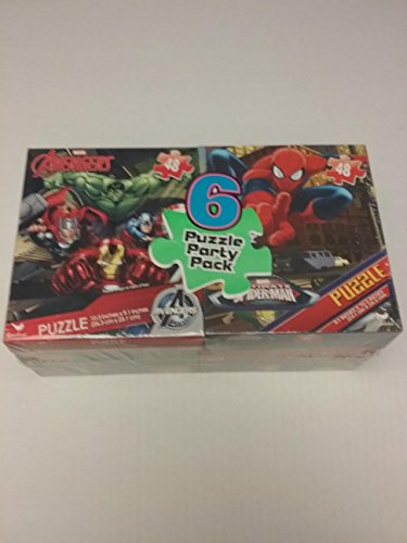 6 Puzzle Party Pack (Star Wars, Spiderman, and Avengers) (392 (Homemade Spiderman Halloween Costumes)