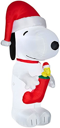 christmas decoration lawn yard inflatable peanuts snoopy with woodstock in a stocking 10 tall - Snoopy Blow Up Christmas Decorations
