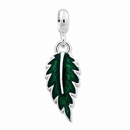 Sterling Silver Green Enameled Leaf Enhancer, Best Quality Free Gift Box ()