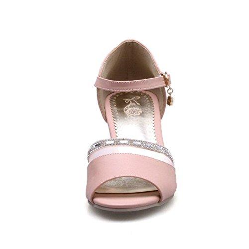 RAZAMAZA Mujer Moda Peep Toe Tacon Ancho Alto Fiesta Sandalias Rosado