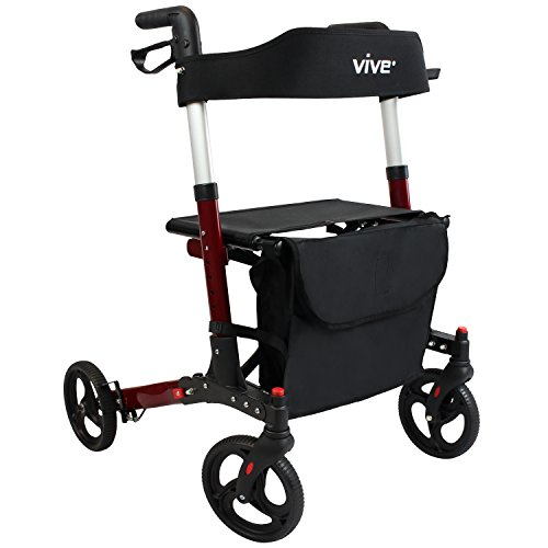 Folding Rollator Walker by Vive - 4 Wheel Medical Rolling Walker with Seat & Bag - Mobility Aid for Adult, Senior, Elderly & Handicap - Folding Aluminum Transport Chair (Red)