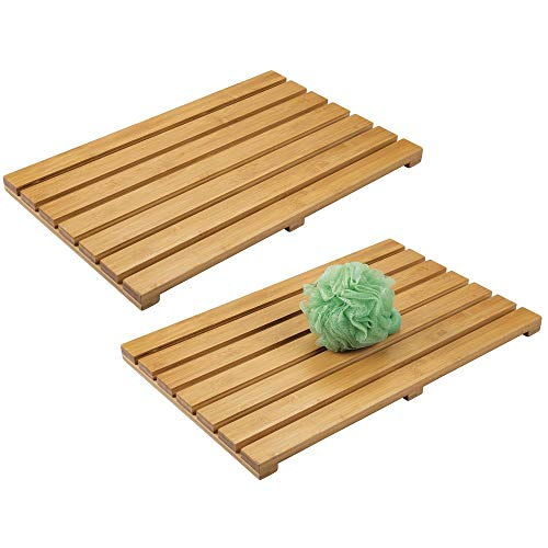 mDesign 100% Bamboo Non-Slip Rectangular Spa Bath Mat - for Bathroom Showers, Bathtubs, Floors - Slatted Design, Eco-Friendly - Indoor and Outdoor Use - 2 Pack - Natural Light Wood (Mat Bathtub Essential)