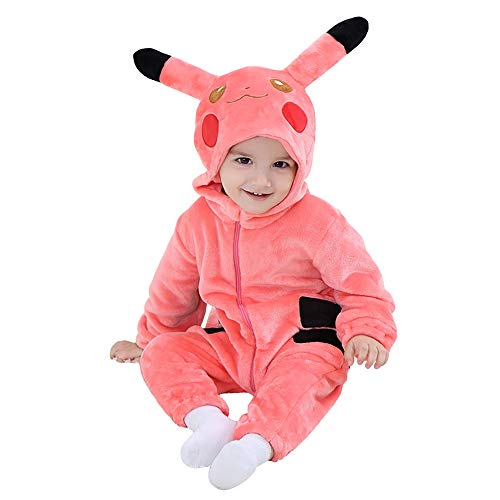Unisex Baby Flannel Romper Animal Onesie Costume Hooded Cartoon Outfit Suit (Pink Pikachu, 100(18-23M)) -
