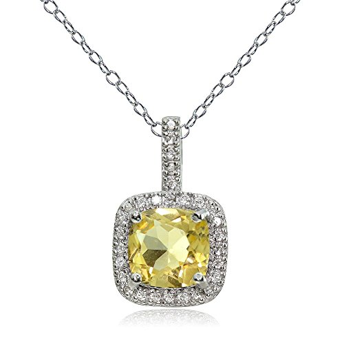 Citrine Pendant Set - Ice Gems Sterling Silver Citrine & White Topaz Cushion-Cut Necklace