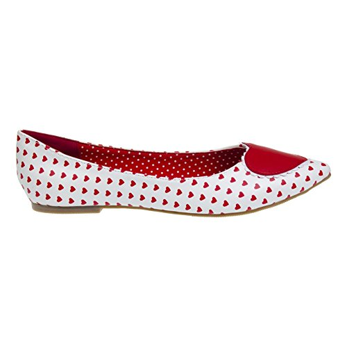 Scarpe Basse Flat Shoes Alma Banned (Bianco/Rosso)