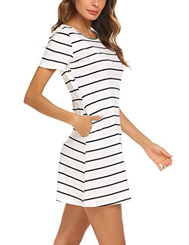 Feager Women's Casual Criss Cross Short Sleeve Striped Mini Dress with Pockets (XS,White) from Feager