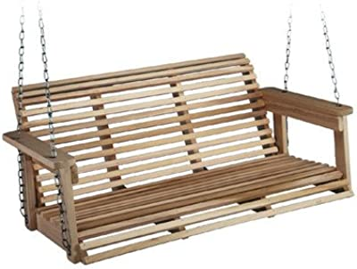 Outdoor Porch Swing Made of Wood and Carbon Steel and Zinc Coated in Natural wood Color 19'' H x 48'' W x 25'' D