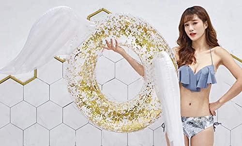 [スポンサー プロダクト]熱狂の夜 成人用スパンコール 浮き輪 浮遊おもちゃ 天使の羽水泳リン グピンクホワイト インフレータブルビーチおもちゃ
