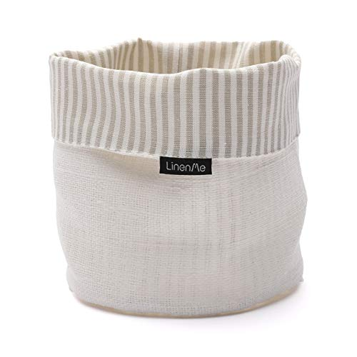 LinenMe, Beige/White Lara Cotton Basket, 6 by 8-Inch, Standard (Covered Basket Bread)