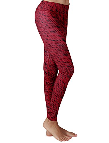 Yoga Reflex - Yoga Pant for Women - Performance Activewear Printed Yoga Leggings - Hidden Pocket (From XS to 2XL) , Grungestripered , X-Small