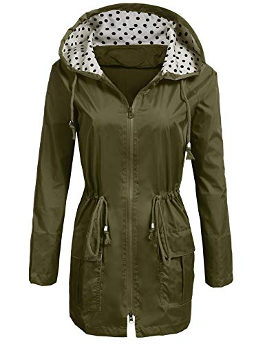 SoTeer Rain Jacket Women's Waterproof Raincoat with Hood Lightweight Packable Ladies Outdoor Hooded Windbreaker,Green,XX-Large