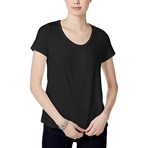 s Short Sleeve Embroidered Blouse Black S ()