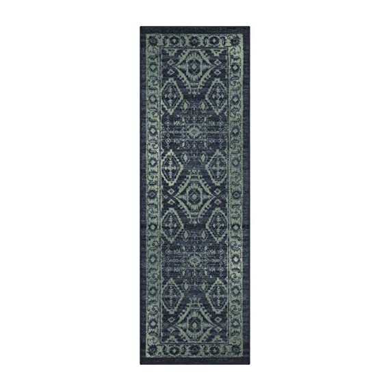 Maples Rugs Georgina Traditional Runner Rug Non Slip Hallway Entry Carpet [Made in USA], 2 x 6, Navy Blue/Green - 2 x 6 Hallway Runner Rug - Traditional Border style with rich, dual-colored design. An elegant and classic addition to different types of furniture and rooms. Timeless Design with 100% Nylon Pile for Added Durability and Fade Resistance 0.44 Inch Pile Height, Low Profile to be Placed in Any Setting. Easy Care and Machine Washable - runner-rugs, entryway-furniture-decor, entryway-laundry-room - 41n7OGzsB3L. SS570  -