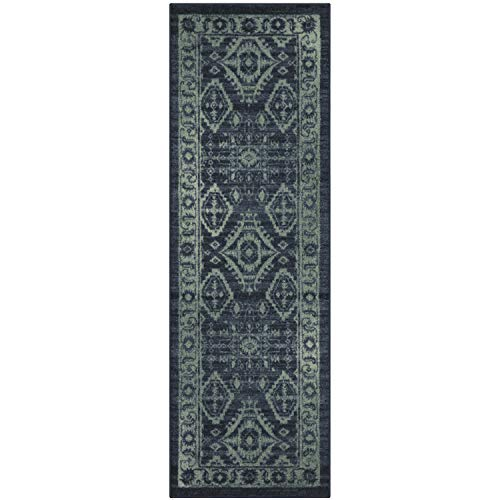 (Maples Rugs Runner Rug - Georgina 2 x 6 Non Skid Hallway Carpet Entry Rugs Runners [Made in USA] for Kitchen and Entryway, 2' x 6', Navy Blue/Green)