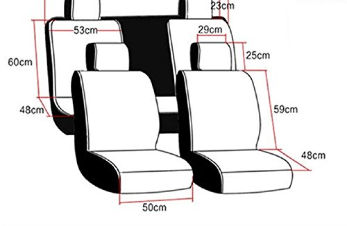 A&S 19005 Compatible Universal Full Front Rear PU Fabric Car Seat Cushion Cover Fit Protection (Warm Ivory White) by A&S (Image #4)