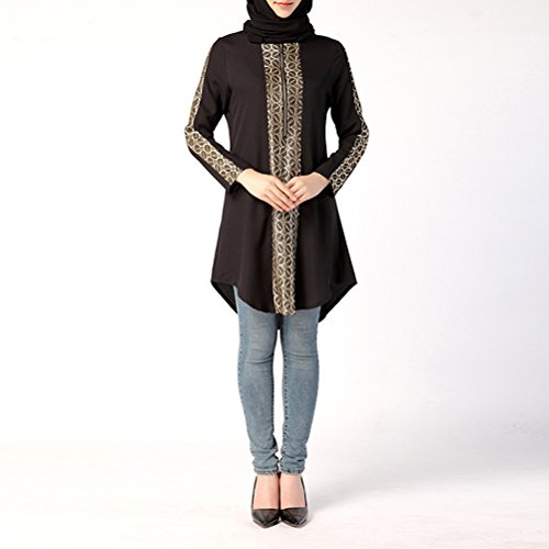 Zhhlaixing Mujeres Muslims Arab Long Shirt Long Sleeves Arab Clothes Ramadan Shirts Clothes Black