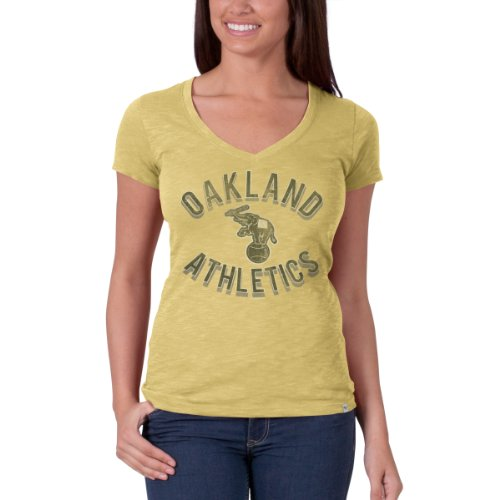 MLB Oakland Athletics Women's V-Neck Scrum Tee, X-Large, Track Gold - Oakland Athletics Design