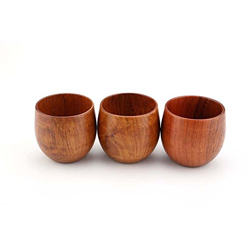 XHWine 3pcs Hand-made Natural Wooden Sake Cup (6x5.5cm) by XHWine