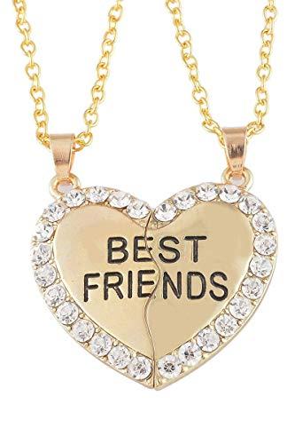 HOUSWEETY 2pcs Best Friend Pendant Necklace BFF