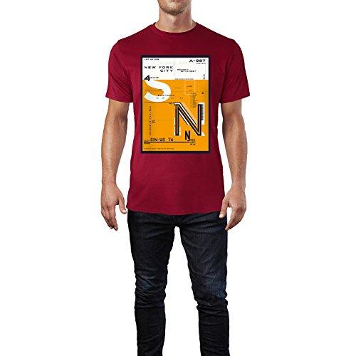 SINUS ART® New York City District Design in Orange Herren T-Shirts in Independence Rot Fun Shirt mit tollen Aufdruck