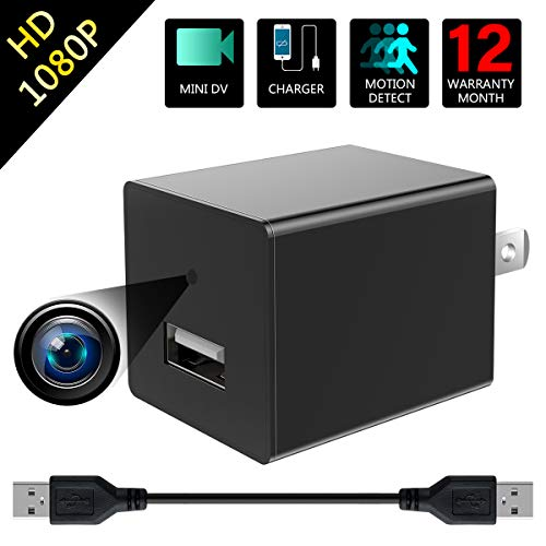 Spy Hidden Camera 1080P HD Mini Nanny Cameras USB Hidden Charger Camera Recoder Has Motion Detection and Loop Recording for Use in Security Surveillance of Your Home and Office